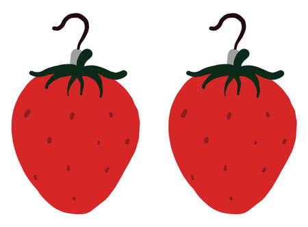 Strawberry earrings , illustration, vector on white background Vettoriali