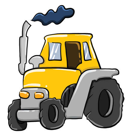 Yellow tractor , illustration, vector on white background Stock Illustratie