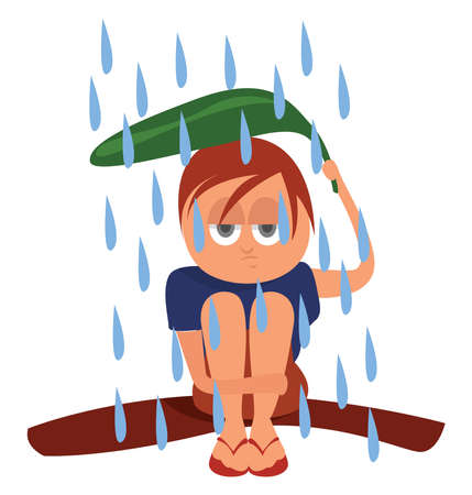 Girl on tropical rain , illustration, vector on white background