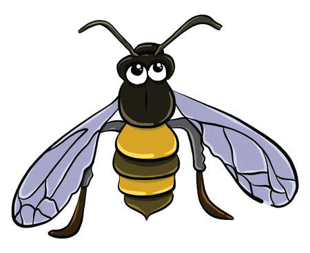 Bored wasp , illustration, vector on white background