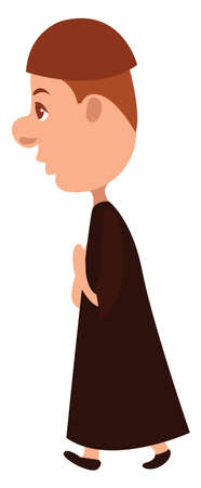 Young monk , illustration, vector on white background 向量圖像
