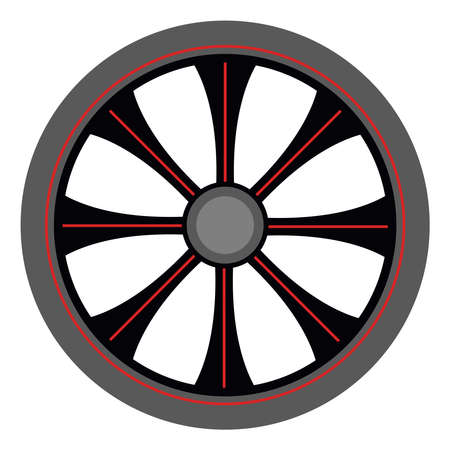 Alloy wheel, illustration, vector on white background