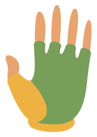 Green bike gloves, illustration, vector on white background