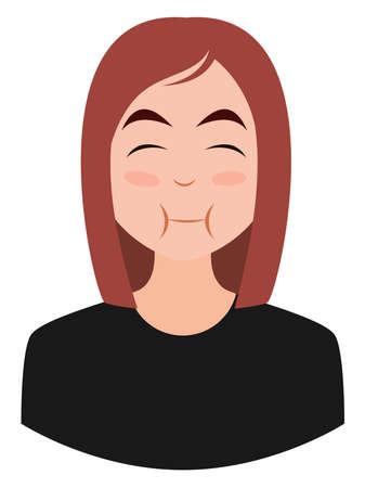 Girl eating emoji, illustration, vector on white background
