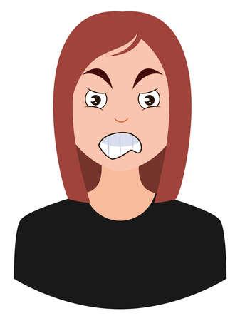 Pissed off girl, illustration, vector on white background