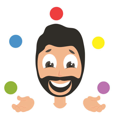 Man juggling, illustration, vector on white background Vectores