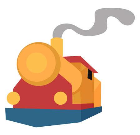 Old train, illustration, vector on white background