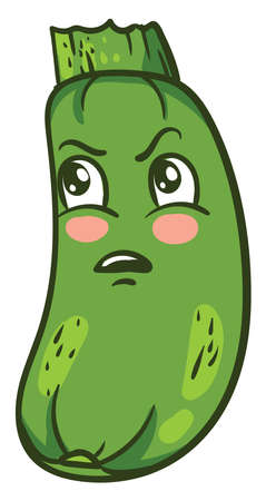 Angry fat zucchini, illustration, vector on white background