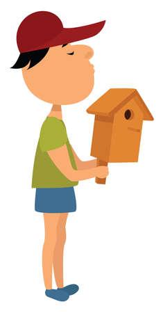 Man holding birdhouse, illustration, vector on white background Illustration