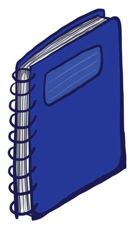 Blue notebook, illustration, vector on white background Çizim