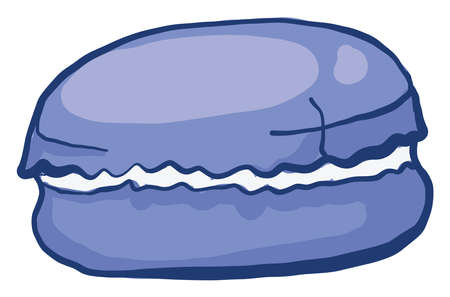 Blue macaroon, illustration, vector on white background
