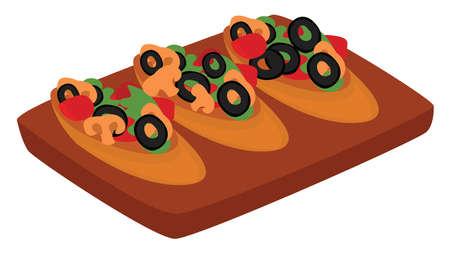 Bruschetta food, illustration, vector on white background