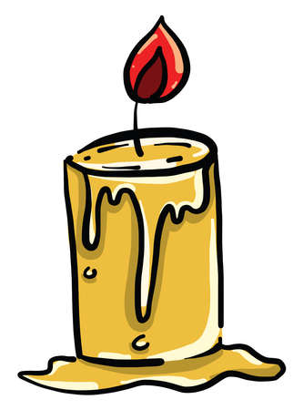 Yellow candle, illustration, vector on white background