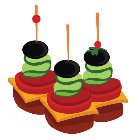 Canape food, illustration, vector on white background