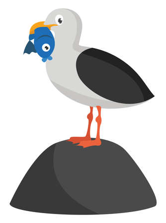 Seagull with fish, illustration, vector on white background