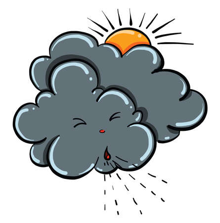 Gray cloud, illustration, vector on white background