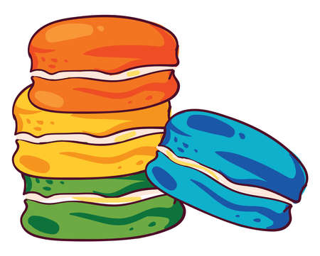 Colorful macaroons, illustration, vector on white background 矢量图像