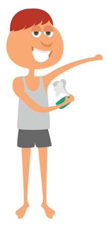 Man putting deodorant, illustration, vector on white background