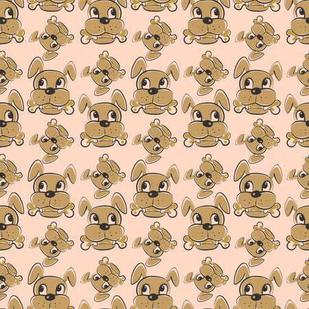 Dog with bone pattern, seamless pattern on pink background. Illustration