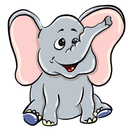 Elephant with big ears, illustration, vector on white background