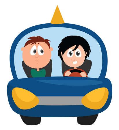 Driving instructor, illustration, vector on white background Ilustração