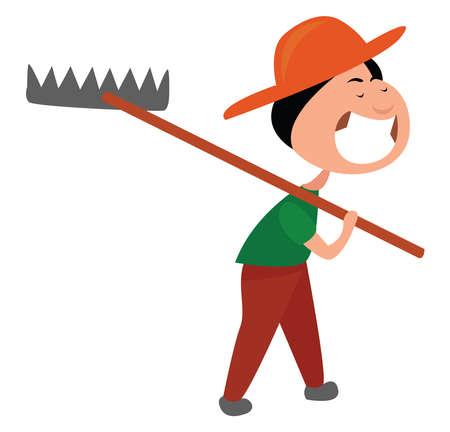 Happy farmer, illustration, vector on white background