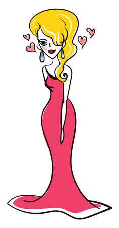 Lovely goddess Aphrodite, illustration, vector on white background