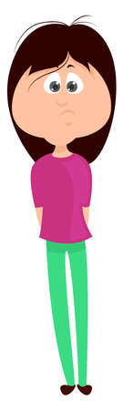 Woman in green pants, illustration, vector on white background