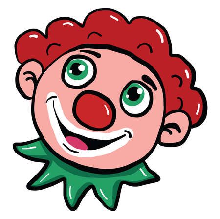 Happy clown face, illustration, vector on white background