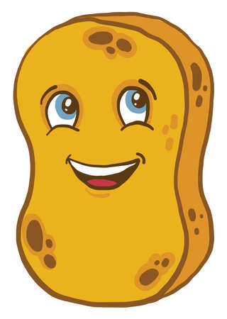 Happy yellow sponge, illustration, vector on white background