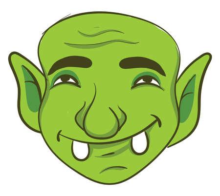 Green troll, illustration, vector on white background 矢量图像