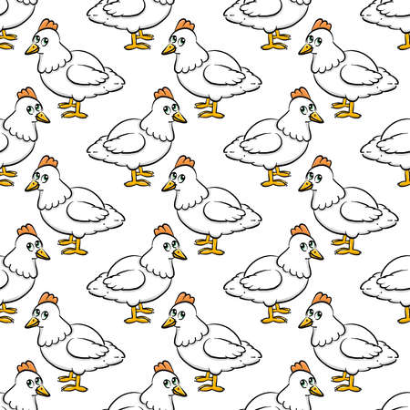 Hen pattern, seamless pattern on white background.