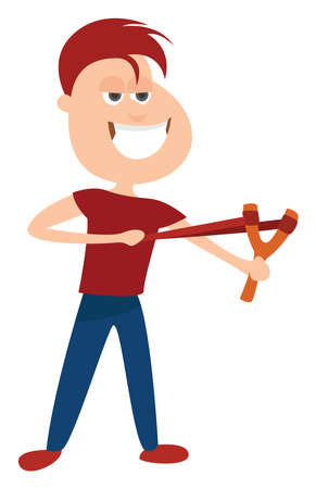 Man with shooting sling, illustration, vector on white background