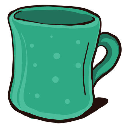 Green cup, illustration, vector on white background