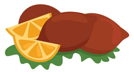 Kofta with lemons, illustration, vector on white background