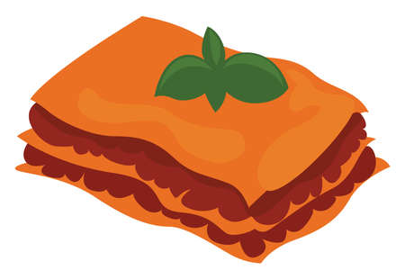 Lasagne food, illustration, vector on white background