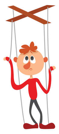 Marionette on ropes, illustration, vector on white background