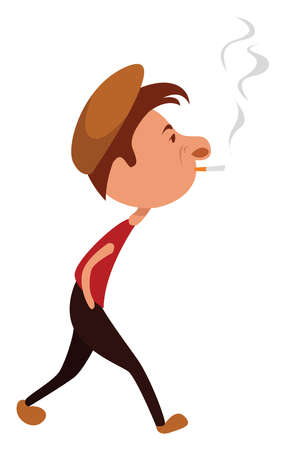 Man smoking cigare, illustration, vector on white background Stock Illustratie