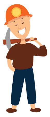 Happy miner, illustration, vector on white background
