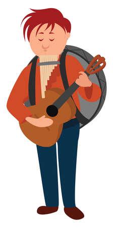 One man band, illustration, vector on white background