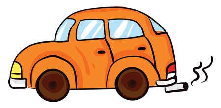 Orange car, illustration, vector on white background Illusztráció