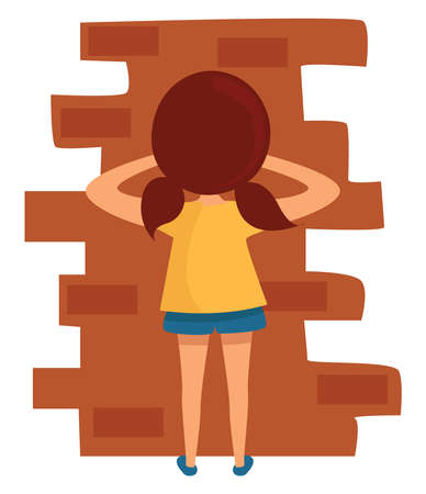 Kid playing hide and seek, illustration, vector on white background