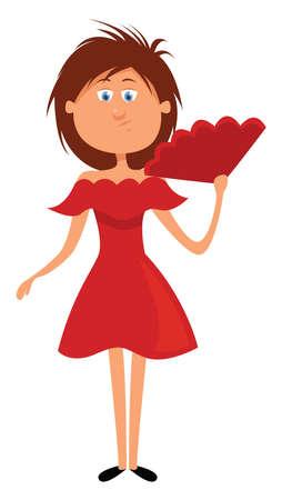 Girl in red dress, illustration, vector on white background