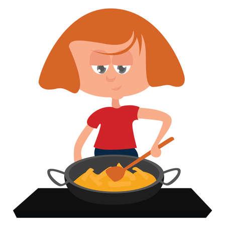 Girl roasting potatoes, illustration, vector on white background Иллюстрация