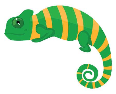Green chameleon, illustration, vector on white background 向量圖像