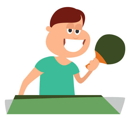 Playing table tennis, illustration, vector on white background