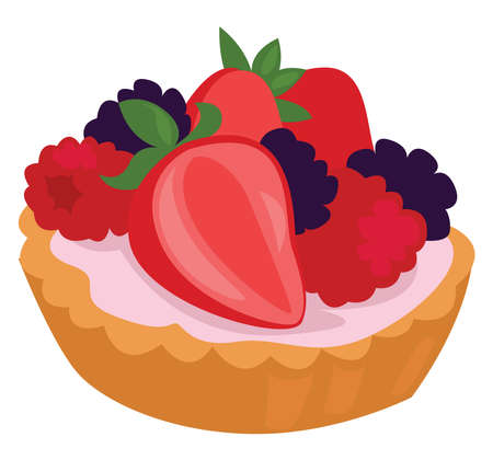 Tartlet food, illustration, vector on white background