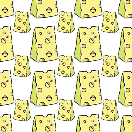 Cheese pattern, seamless pattern on white background. 일러스트