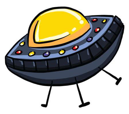 Blue UFO, illustration, vector on white background