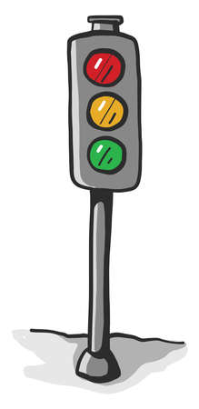 Traffic light, illustration, vector on white background